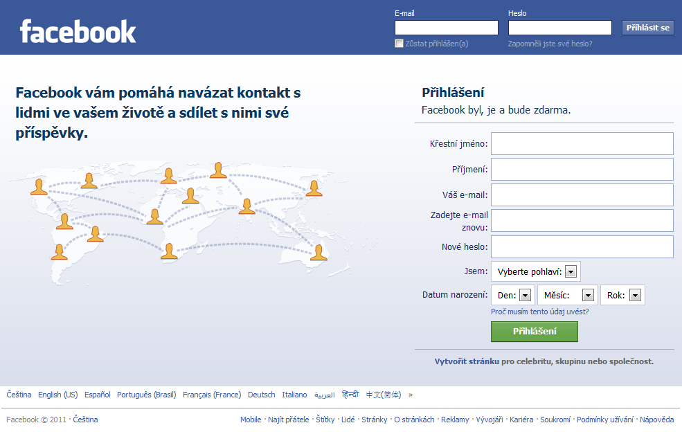 Facebook registrace