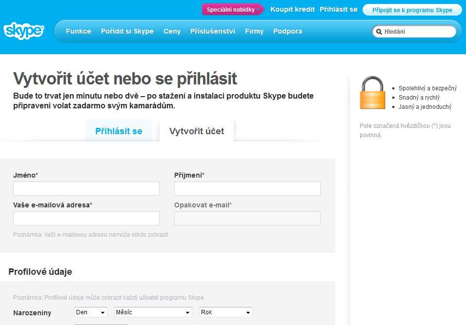 Vytvoření Skype účtu