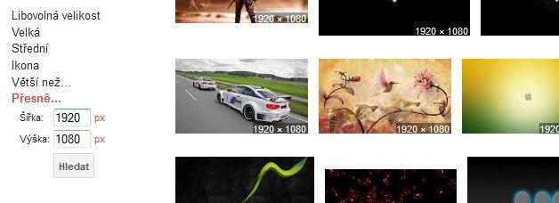 Vyhledávání tapet přes Google Obrázky